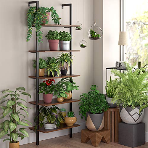 HOMFA 5 Tier Industrial Ladder Shelf Against The Wall 726 Inches Display Storage Rack Plant Flower Stand Utility Organizer Bookshelf Wood Look Accent Metal Frame Furniture Home Office 0 2