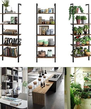HOMFA 5 Tier Industrial Ladder Shelf Against The Wall 726 Inches Display Storage Rack Plant Flower Stand Utility Organizer Bookshelf Wood Look Accent Metal Frame Furniture Home Office 0 3 300x360
