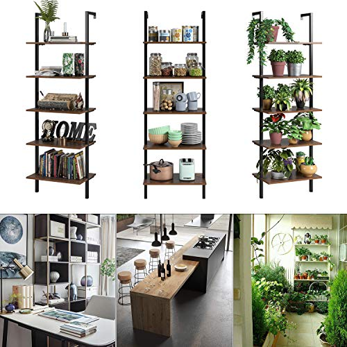 HOMFA 5 Tier Industrial Ladder Shelf Against The Wall 726 Inches Display Storage Rack Plant Flower Stand Utility Organizer Bookshelf Wood Look Accent Metal Frame Furniture Home Office 0 3