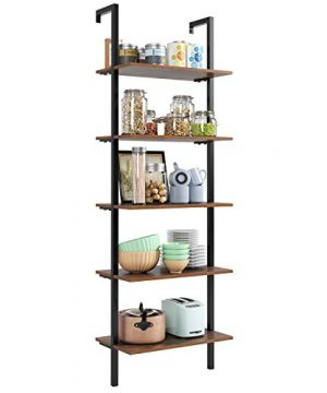 HOMFA 5 Tier Industrial Ladder Shelf Against The Wall 726 Inches Display Storage Rack Plant Flower Stand Utility Organizer Bookshelf Wood Look Accent Metal Frame Furniture Home Office 0 4 300x360