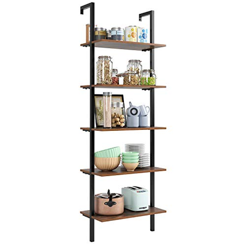 HOMFA 5 Tier Industrial Ladder Shelf Against The Wall 726 Inches Display Storage Rack Plant Flower Stand Utility Organizer Bookshelf Wood Look Accent Metal Frame Furniture Home Office 0 4