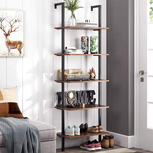 HOMFA 5 Tier Industrial Ladder Shelf Against The Wall 726 Inches Display Storage Rack Plant Flower Stand Utility Organizer Bookshelf Wood Look Accent Metal Frame Furniture Home Office 0
