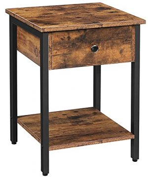 HOOBRO Nightstand 2 Tier End Table Industrial Side Table With Drawer And Storage Shelf Wooden Accent Table With Metal Frame Easy Assembly Rustic Brown And Black BF40BZ01 0 300x360