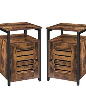 HOOBRO Nightstand Set Of 2 Shutter End Table With Switchable Door And Inner Storage Square Side Table Wood Accent Industrial Sofa Storage Cabinet In Bedroom Reception Room Rustic Brown BF85BZP201 0 300x360