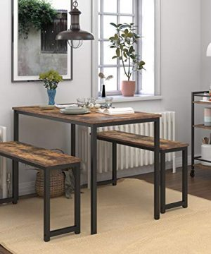 HOOBRO Table Benches Pair Of 2 Dining Benches Industrial Style Indoor Benches Durable Metal Frame For Kitchen Dining Room Living Room Rustic Brown BF01CD01 0 0 300x360