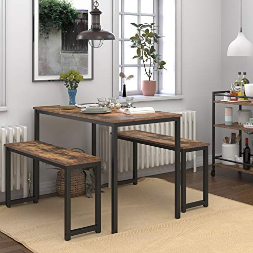 HOOBRO Table Benches Pair Of 2 Dining Benches Industrial Style Indoor Benches Durable Metal Frame For Kitchen Dining Room Living Room Rustic Brown BF01CD01 0 0