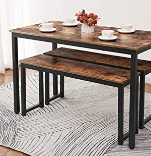 HOOBRO Table Benches Pair Of 2 Dining Benches Industrial Style Indoor Benches Durable Metal Frame For Kitchen Dining Room Living Room Rustic Brown BF01CD01 0 2 300x309