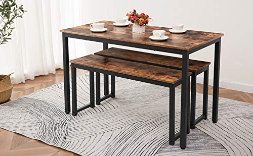 HOOBRO Table Benches Pair Of 2 Dining Benches Industrial Style Indoor Benches Durable Metal Frame For Kitchen Dining Room Living Room Rustic Brown BF01CD01 0 2