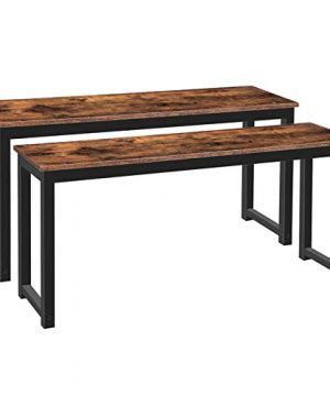HOOBRO Table Benches Pair Of 2 Dining Benches Industrial Style Indoor Benches Durable Metal Frame For Kitchen Dining Room Living Room Rustic Brown BF01CD01 0 300x360