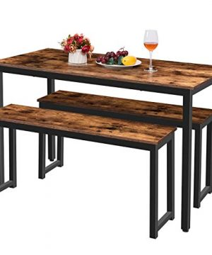 HOOBRO Table Benches Pair Of 2 Dining Benches Industrial Style Indoor Benches Durable Metal Frame For Kitchen Dining Room Living Room Rustic Brown BF01CD01 0 4 300x360