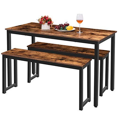 HOOBRO Table Benches Pair Of 2 Dining Benches Industrial Style Indoor Benches Durable Metal Frame For Kitchen Dining Room Living Room Rustic Brown BF01CD01 0 4
