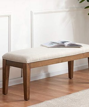 HUIMO Upholstered Entryway Bench Bedroom Bench For End Of Bed Dining Bench With Padded Seat For Kitchen Living Room Fabric Solid Wood Indoor Bench Beige 0 300x360