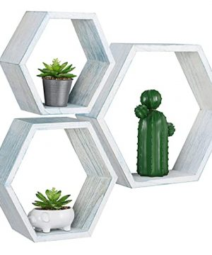 Hexagon Floating Shelves Wall Mounted Set Of 3 Honeycomb Wood Shelf Storage Farmhouse Home Decor For Bathroom Kitchen Bedroom Living Room Office 0 300x360