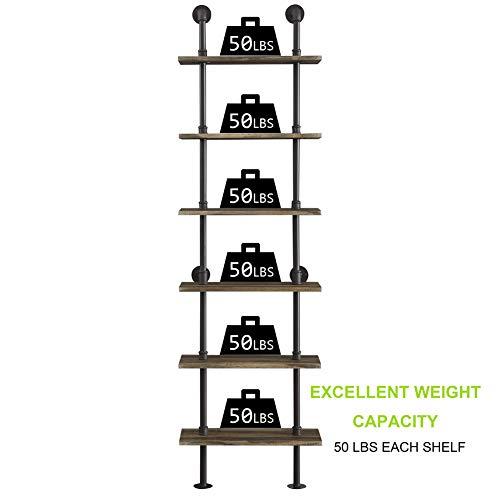 Hombazaar Industrial 6 Tier Modern Ladder Shelf Bookcase Vintage Metal Pipes And Wood Shelves Rustic Display Bookshelf For Storage CollectionRetro Brown 0 1