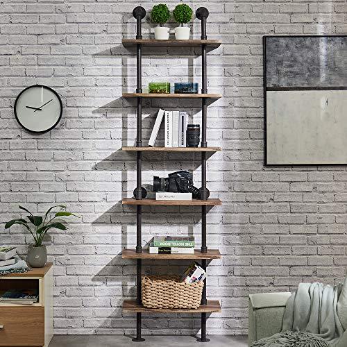 Hombazaar Industrial 6 Tier Modern Ladder Shelf Bookcase Vintage Metal Pipes And Wood Shelves Rustic Display Bookshelf For Storage CollectionRetro Brown 0 3