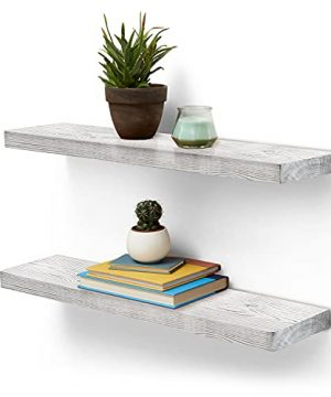 Homexxpress Rustic Wood Floating Wall Shelves Set Of 2 Pine Wooden Hanging Shelf Rustic Decor Shelving For Office Kitchen Bedroom Bathroom Rustic White235X55X125 0 300x360