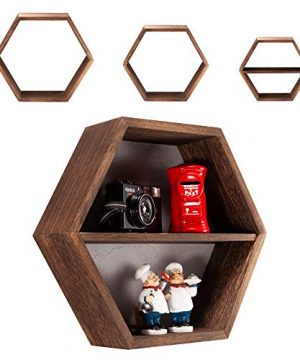 IZB HOME Rustic Hexagon Floating Shelves Set Of 3 Farmhouse Boho Honeycomb Wall Mounted Decor Shelf 3 Movable Mid Plates Included Torched Brown 0 300x360