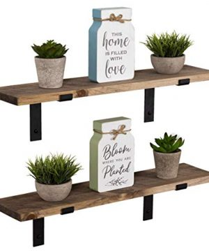 Imperative Decor Rustic Wood Floating Shelves Wall Mounted Storage Shelf With L Brackets USA Handmade Set Of 2 Special Walnut 24 X 55 0 300x360