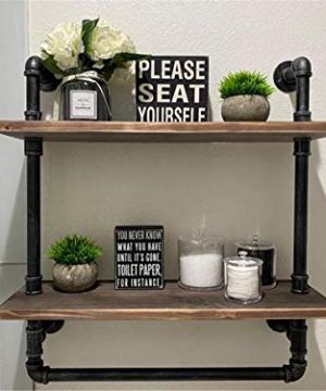 Industrial Bathroom Shelves Wall Mounted 2 Tiered24in Pipe Shelving Wood Shelf With Towel BarRustic Farmhouse Towel RackMetal Floating Shelves Towel HolderIron Distressed Shelf Over Toilet 0 300x360