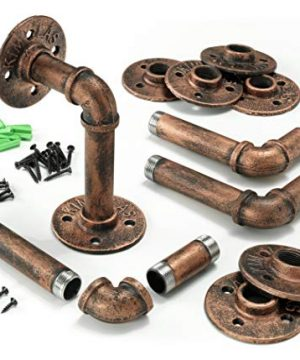 Industrial Iron Pipe Shelving Brackets Pipe Shelf Brackets Pipe Shelves Elbow 4 Red Bronze 0 0 300x360