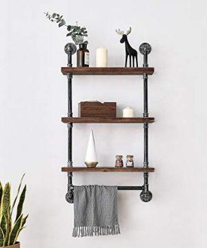 Industrial Pipe Shelf Rustic Wall Shelves With Towel Bar 24 Towel Racks For Bathroom 3 Layer Wood Hanging Shelving 0 0 300x360