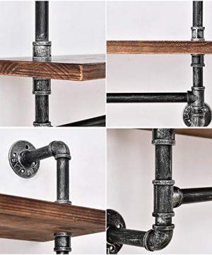 Industrial Pipe Shelf Rustic Wall Shelves With Towel Bar 24 Towel Racks For Bathroom 3 Layer Wood Hanging Shelving 0 2 300x360