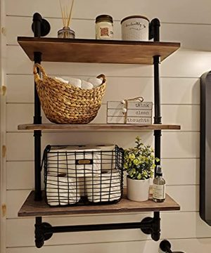 Industrial Pipe Shelf Rustic Wall Shelves With Towel Bar 24 Towel Racks For Bathroom 3 Layer Wood Hanging Shelving 0 300x360