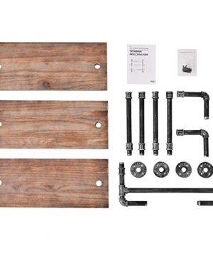 Industrial Pipe Shelf Rustic Wall Shelves With Towel Bar 24 Towel Racks For Bathroom 3 Layer Wood Hanging Shelving 0 4 300x360