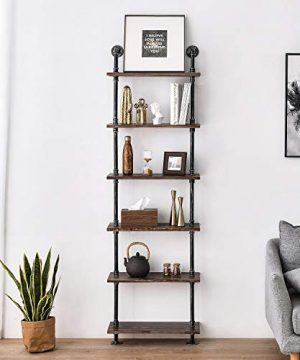 Industrial Pipe Shelves Rustic Wood Ladder Bookshelf Wall Mounted Shelf For Living Room Decor And Storage 0 0 300x360