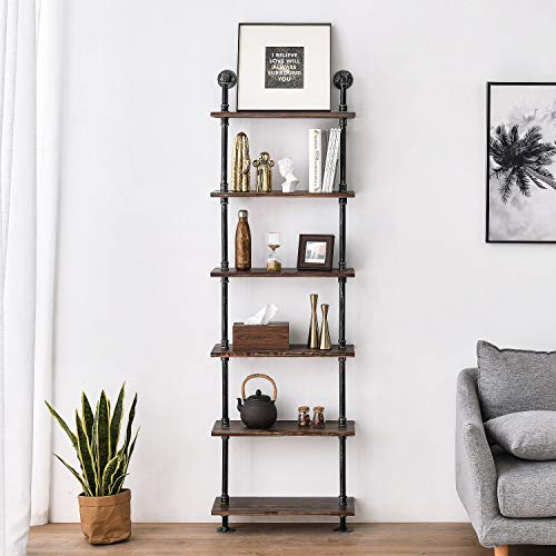 Industrial Pipe Shelves Rustic Wood Ladder Bookshelf Wall Mounted Shelf For Living Room Decor And Storage 0 0