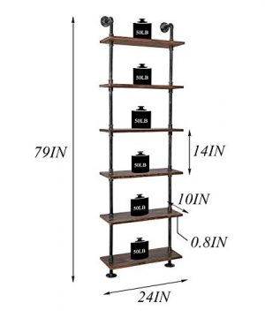 Industrial Pipe Shelves Rustic Wood Ladder Bookshelf Wall Mounted Shelf For Living Room Decor And Storage 0 1 300x360
