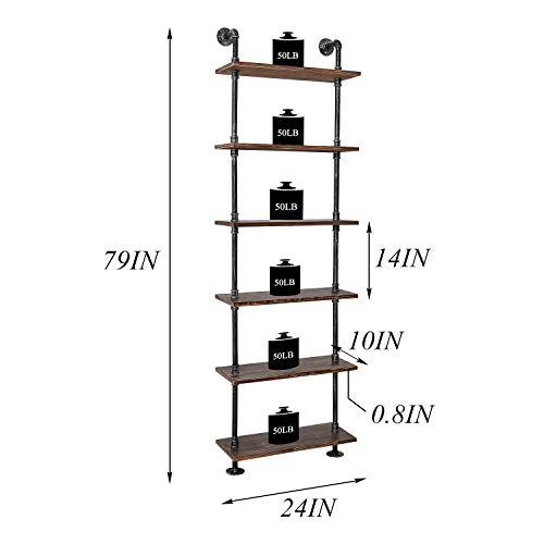 Industrial Pipe Shelves Rustic Wood Ladder Bookshelf Wall Mounted Shelf For Living Room Decor And Storage 0 1