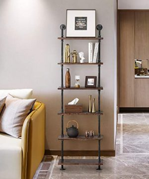 Industrial Pipe Shelves Rustic Wood Ladder Bookshelf Wall Mounted Shelf For Living Room Decor And Storage 0 3 300x360