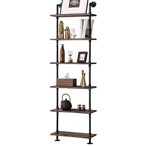 Industrial Pipe Shelves Rustic Wood Ladder Bookshelf Wall Mounted Shelf For Living Room Decor And Storage 0