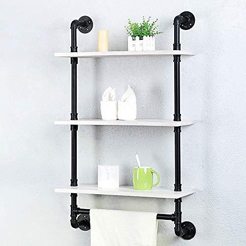 Industrial Pipe Shelving Bathroom Shelves Wall Mounted24in Rustic Wood Shelf With Towel BarFarmhouse Towel Rack Metal Floating Shelves Towel HolderIron Distressed Shelf Over Toilet1 Tier 0 4