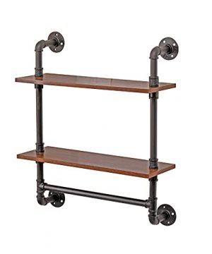 Industrial Pipe Wall Shelf Bathroom Shelves With Towel Bar Rustic Metal Pipe Floating Shelves Iron24 Width Wall BookcasesFarmhouse Kitchen Shelving 0 300x360