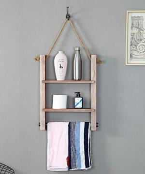 Industrial Wood Bathroom Shelves Wall Mounted 2 ShelfRustic Pipe Shelving Wood Shelf With Floating Shelves Towel Holder 0 300x360