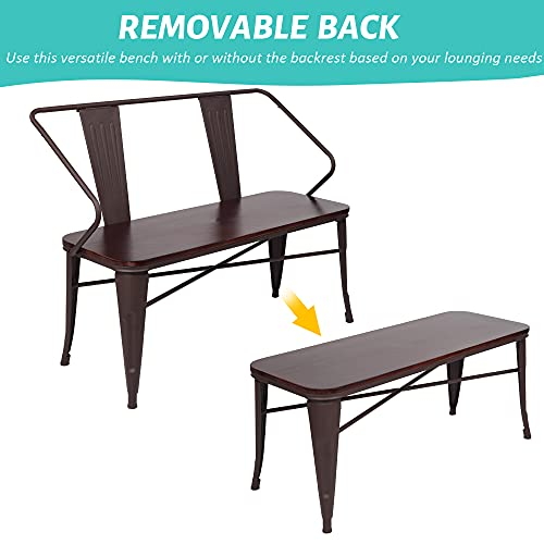 JOYBASE 45 Farmhouse Bench Dining Bench With Back Metal Bench With Wood Seat Industrial Rustic Style For Indoor Outdoor Patio Garden Backyard Brown 0 0