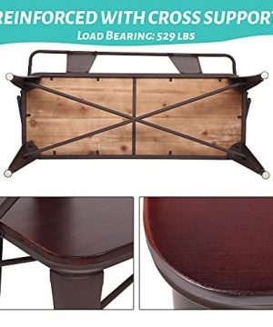 JOYBASE 45 Farmhouse Bench Dining Bench With Back Metal Bench With Wood Seat Industrial Rustic Style For Indoor Outdoor Patio Garden Backyard Brown 0 1 300x360