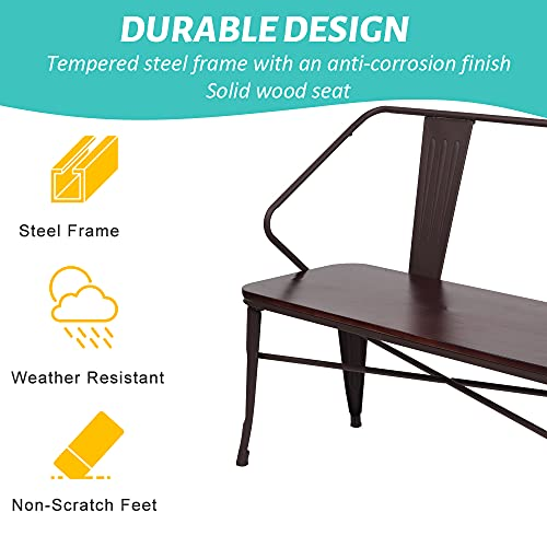 JOYBASE 45 Farmhouse Bench Dining Bench With Back Metal Bench With Wood Seat Industrial Rustic Style For Indoor Outdoor Patio Garden Backyard Brown 0 3