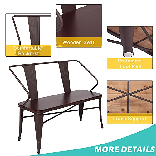JOYBASE 45 Farmhouse Bench Dining Bench With Back Metal Bench With Wood Seat Industrial Rustic Style For Indoor Outdoor Patio Garden Backyard Brown 0 4