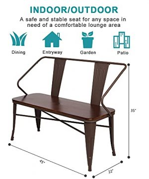 JOYBASE 45 Farmhouse Bench Dining Bench With Back Metal Bench With Wood Seat Industrial Rustic Style For Indoor Outdoor Patio Garden Backyard Brown 0 5 300x360