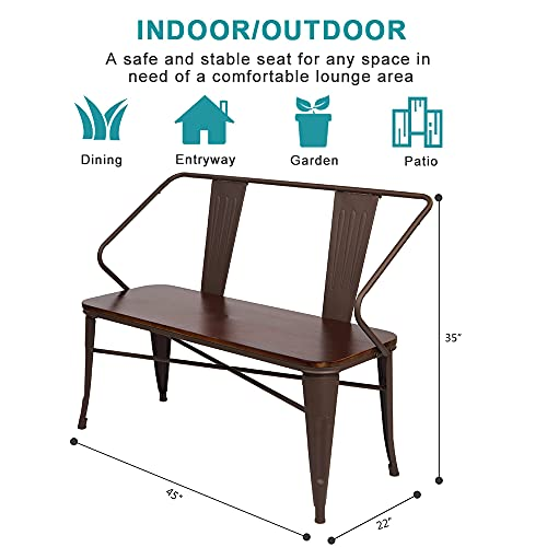 JOYBASE 45 Farmhouse Bench Dining Bench With Back Metal Bench With Wood Seat Industrial Rustic Style For Indoor Outdoor Patio Garden Backyard Brown 0 5
