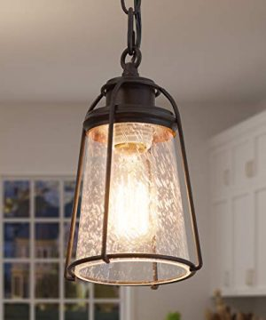 KSANA Farmhouse Pendant Lighting Mini Rustic Hanging Light Fixture With Seeded Glass Shade For Kitchen Island Foyer Hallway Bedroom And Entryway Bronze 0 300x360