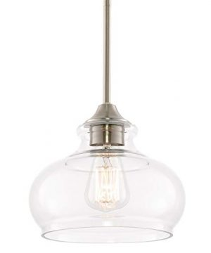 Kira Home Harlow 9 Modern Industrial FarmhouseSchoolhouseRustic Pendant Light With Clear Glass Shade Adjustable Hanging Height Brushed Nickel Finish 0 300x360