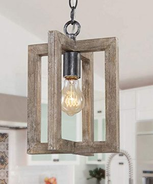 LALUZ Farmhouse Wood Pendant Lighting For Kitchen Island Small Square Pendant Light Fixture For Bedroom Kitchen Sink Entryway Dining Room Foyer 0 300x360