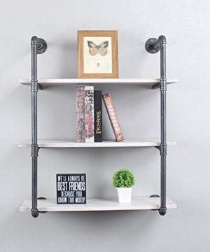 LENGEN Industrial Floating Shelves Wall Mount30in Rustic Pipe Wall Shelf3 Tiers Wall Mount BookshelfDIY Storage Shelving Floating ShelvesWall Shelving UnitWall Book Shelf For HomeVintage White 0 300x360