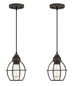 LIT PaTH Pendant Lighting Fixture For Kitchen And Dining Room Hanging Ceiling Lighting Fixture E26 Medium Base Metal Construction With Oil Rubbed Bronze Finish Bulb Not Included 2 Pack 0 300x360