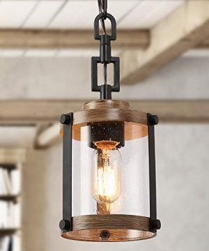 LOG BARN Pendant Lighting For Kitchen Island Farmhouse Mini Chandelier In Faux Wood Metal With Bubbled Glass Shade Rustic Ceiling Fixture Hanging For Dining Room Hallway 0 300x360
