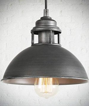 LOG BARN Pendant Lighting With Cutouts On Top Industrial Silver Brushed Pendant Light For Kitchen Island Dining Room And Bedroom 0 300x360